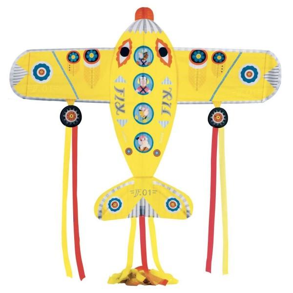 Djeco Drachen Maxi Flugzeug gelb