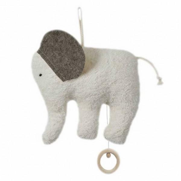 Efie Spieluhr Elefant Organic | Brahms Wiegenlied grau kbA