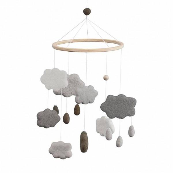 Sebra Baby Mobile aus Filz Wolken grau