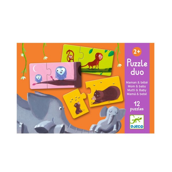 Djeco Puzzle Duo Tiere Mama und Kind