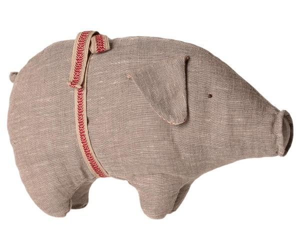 Maileg Schwein Kuscheltier grau mit Schleife 26cm