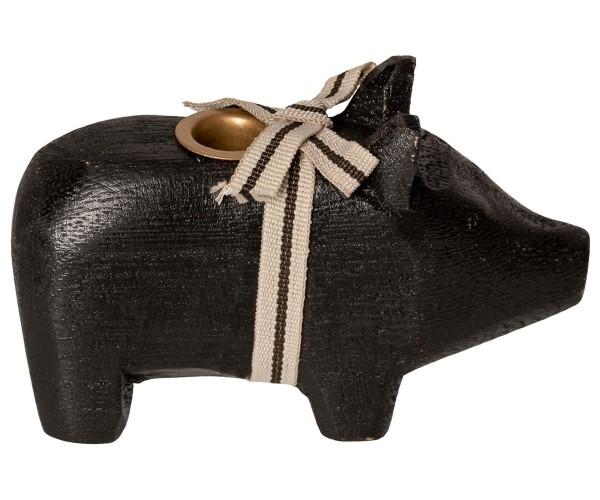 Maileg Schwein Kerzenhalter Holz schwarz 10cm