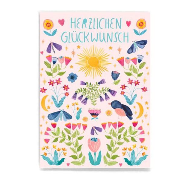 FRAU Ottilie Postkarte Herzlichen Glückwunsch Blüten