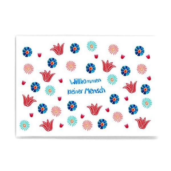 FRAU Ottilie Postkarte Willkommen Blume