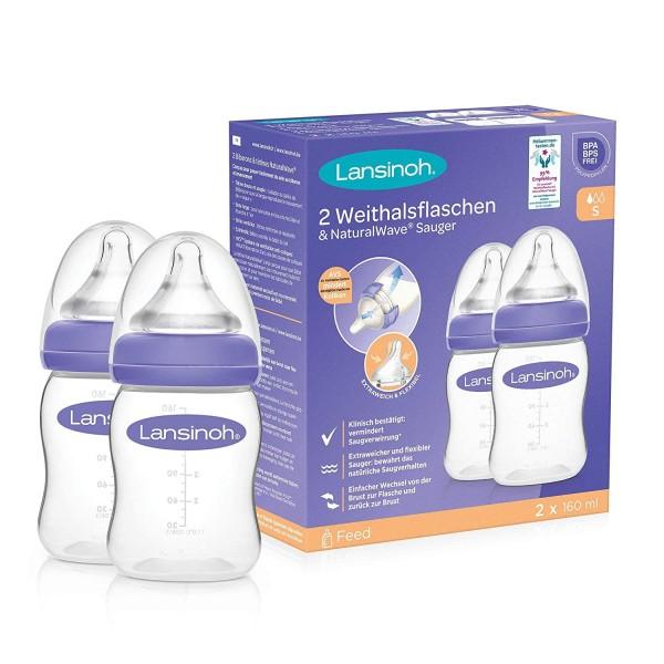 Lansinoh Natural Wave Flasche S | 160ml 2er