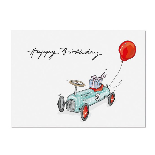 KRIMA & ISA Postkarte Happy Birthday Wagen