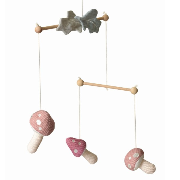 Egmont Toys Baby Mobile Pilz gestrickt rosa