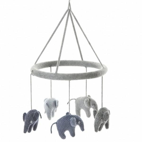 Smallstuff Mobile Elefant blau/grau gestrickt