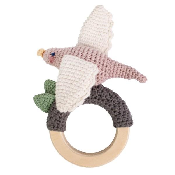 Sebra Babyrassel gehäkelt Vogel auf Holzring