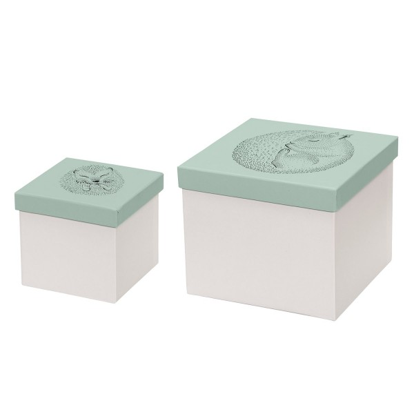 Bloomingville Boxen stabile Pappe Tiere grün 2er