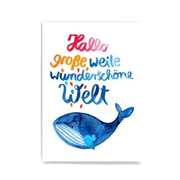 FRAU Ottilie Postkarte Hallo Welt Wal