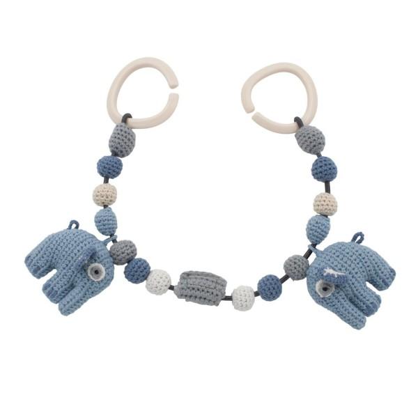 Sebra Kinderwagenkette Elefant gehäkelt blau
