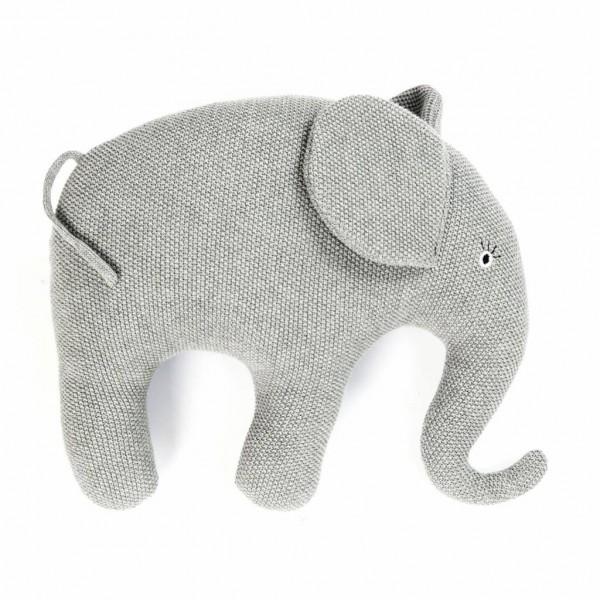 Smallstuff Kissen Elefant groß grau gestrickt