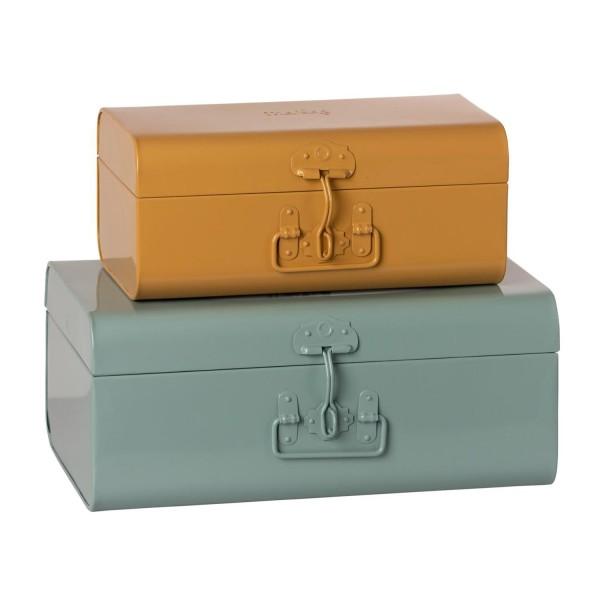 Maileg Aufbewahrungsbox Metall Türkis Gelb 2er