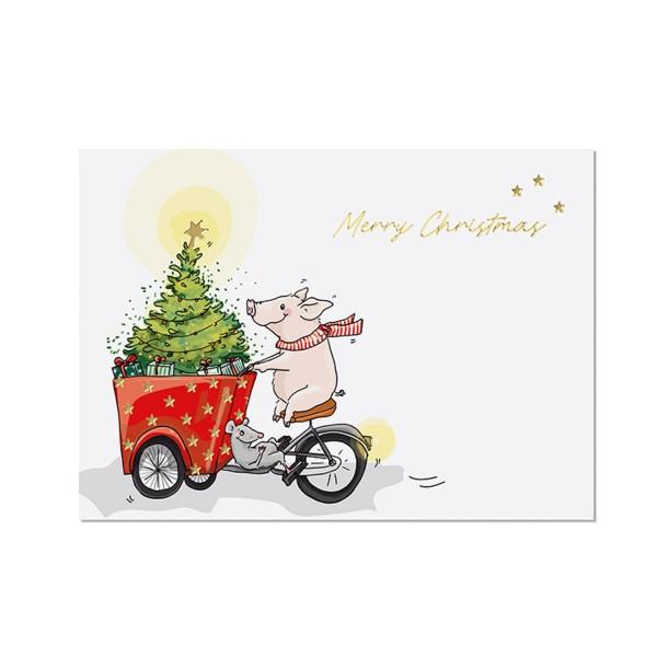 KRIMA & ISA Postkarte Weihnachten Schwein