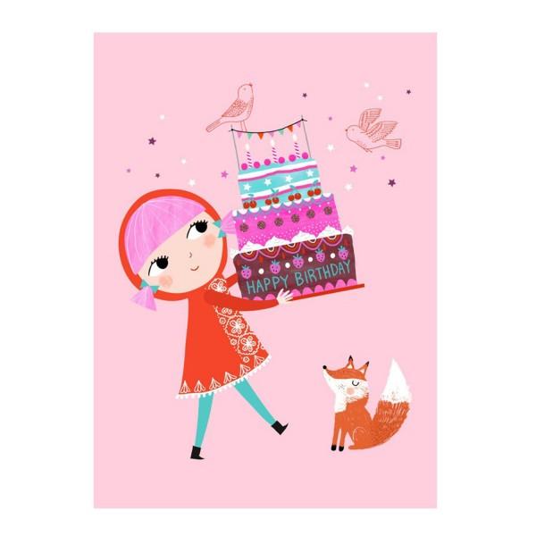 Petit Monkey Postkarte Geburtstag rosa
