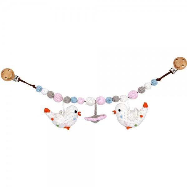 Sindibaba Kinderwagenkette Blume Vogel weiß